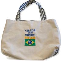 Não vivo:ブラジル国旗・コットンキャンパス地トートバッグ/Lサイズ