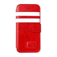 【SALE】iPhone5/5s 手帳型レザーケース ツーストライプ / レッド