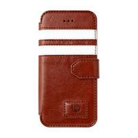 【SALE】iPhone5/5s 手帳型レザーケース ツーストライプ / ブラウン