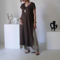 DEPTH PLANE STRECH LINEN CAFTAN DRESS/DARK CHOCO