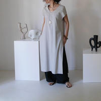 DEPTH PLANE STRECH LINEN CAFTAN DRESS/GRAYGE