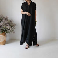 LINEN TWILL ANMBIENCE  DRESS/BLACK