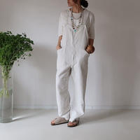 COTTON  LINEN  SOFT LOOSE OVERALL/ECRU