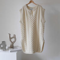 WOOL CABLE CAFTAN  KNIT TUNIC