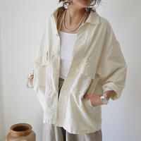 MILITARY COTTON LINEN SHIRT JACKET(IVORY)