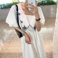 カラー刺繍ボリュームスリーブドレス