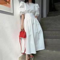 ボリュームスリーブウエストマークドレス