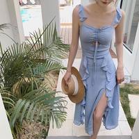 フリルスリットドレス