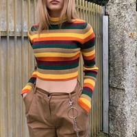 レインボーショートセーター