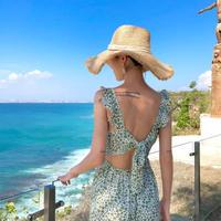 ショルダーフリルバックリボンフラワービーチドレス