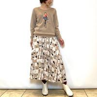 【ATELIER SIX/アトリエシックス】スクエアプリントのプリーツスカート