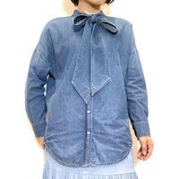 【PASSIONE/パシオーネ】ボウタイダンガリーシャツ