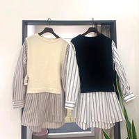 【FONTANA GRANDE/フォンタナグランデ】ニットドッキングシャツ