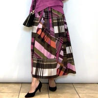 【Coomb/クーム】ブロックチェックのプリントスカート