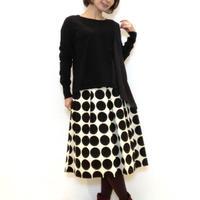 【NOUQUE/ヌーク】白黒ドットのフレアースカート