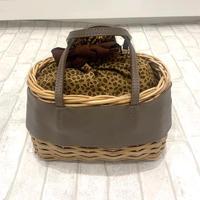 【Flea store vegetal/フリーストアベジタル】レオパード巾着ミニカゴバッグ