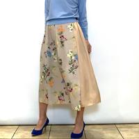 【DONEEYU/ドニーユ】花柄プリントのラップ風スカート