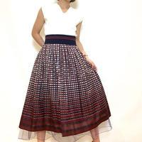 【Blue Greed/ブルーグリード】裾チュールのチェックフレアースカート