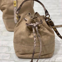 【Flea Store Vegetal/フリーストアベジタル】 ヌバック巾着バッグ
