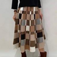 【PLUS PLUS/プラスプラス】ブロックチェックニットスカート