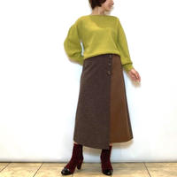 【BEATRICE/ベアトリス】異素材切り替えラップ風スカート