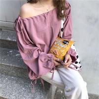 loose off-shoulder  blouse