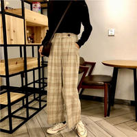 plaid straight pants