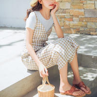 gingham check overalls