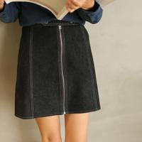 front zipper mini skirt
