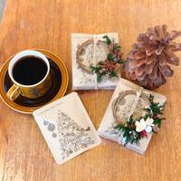 Xmas[Flower & Coffee SET]]メッセージドリップバック5個+ミニオーナメントリース