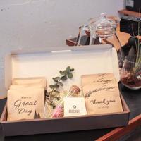 [ Flower&Coffee SET]BOX入り/メッセージドリップバック8個(2種)・ボトルフラワーMサイズ1点(カラー4種)
