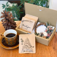 Xmas[Flower & Coffee SET]ミニリース(ウォッシュドアンティーク)+メッセージドリップバック5個BOX入セット
