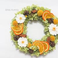 [フラワーリース]オレンジとジニアの紫陽花リース/プリザーブドフラワー/Mサイズ