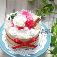母の日[フラワーケーキ]キャンディピンク×ホワイト/プリザーブドフラワー