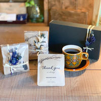 [ COFFEE GIFT  SET]メッセージドリップバック2種10個+ミニ花束