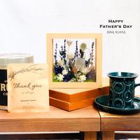 父の日[Flower & Coffee SET]ガラスフレームアレンジ(ブルーガーデン)+メッセージドリップバック5個