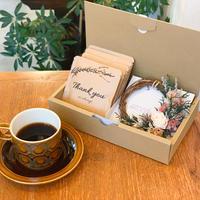[Flower & Coffee SET]ミニリース(ウォッシュドアンティーク)+メッセージドリップバック5個BOX入セット