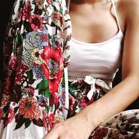花柄ストレートパンツ