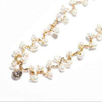 Fresh Water Pearl × Laser Hole Diamond Bracelet★THREE