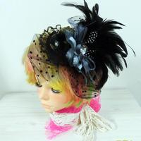 髪飾り 羽付チュール帽子 黒 結婚式 ヘアアクセ ウエディング