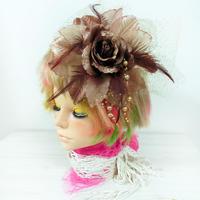 髪飾り コサージュ チュール ビーズ付 ヘアアクセ 茶 結婚式 成人式