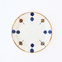 藍ブルー 24cmプレート 一珍水玉紋