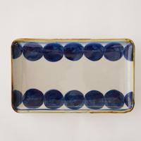 藍ブルー 長角皿 丸紋