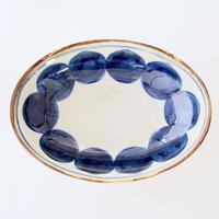 藍ブルー オーバルボウル 丸紋