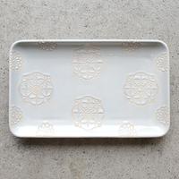 ステッチ 長角皿 ホワイト