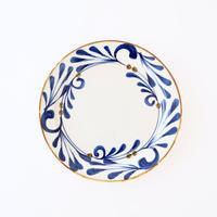 藍ブルー 24cmプレート 唐草紋