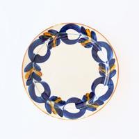 藍ブルー 24cmプレート 草花紋