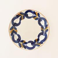 藍ブルー 240プレート 草花紋
