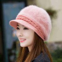 うさぎ 毛皮 ソフト帽子 新着圧熱 ニット キャップ ピンク
