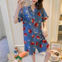 レディース 部屋着 パジャマ風 可愛い 半袖 ロングシャツ Ver.6